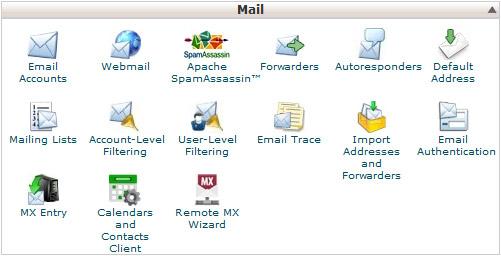 Elektronska pošta - nadzorna plošča cPanel